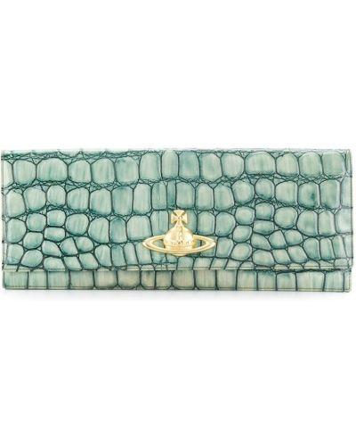 Зеленый клатч винтажный из крокодила Vivienne Westwood Pre-owned