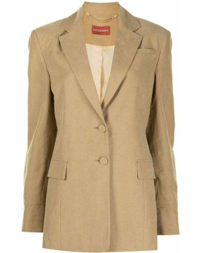 Однобортный коричневый удлиненный пиджак на пуговицах Altuzarra