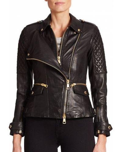 Черная кожаная длинная куртка милитари Burberry