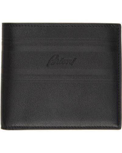 Кожаный черный классический кошелек с логотипом Brioni