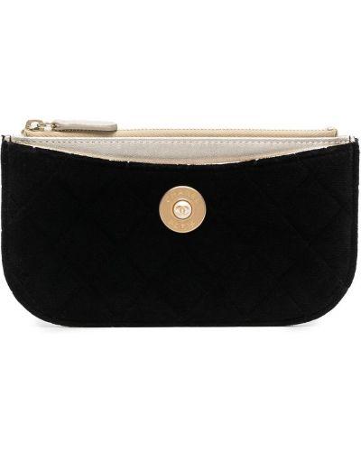 Czarna kopertówka bawełniana pikowana Chanel Pre-owned