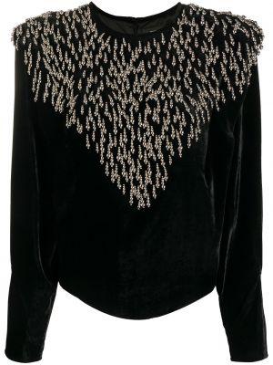 Шелковая черная блузка с длинными рукавами Isabel Marant