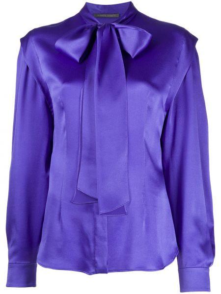 С рукавами синяя шелковая блузка с длинным рукавом Alberta Ferretti