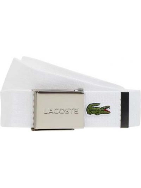Biały pasek klamry z wiskozy Lacoste
