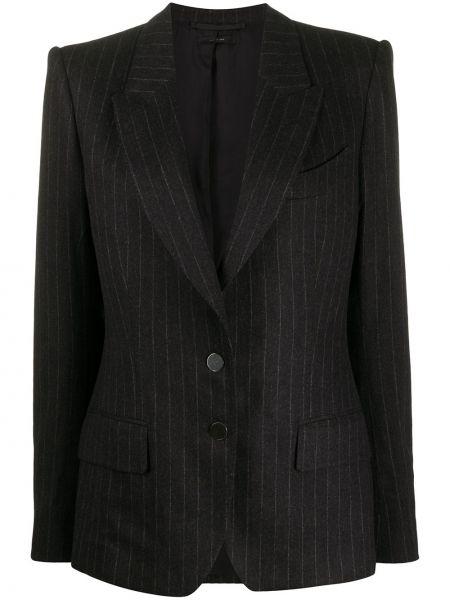 Однобортный черный удлиненный пиджак в полоску Tom Ford