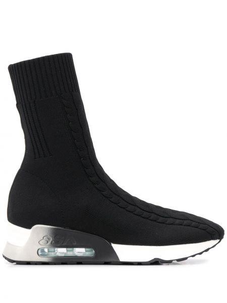 Черные носки высокие в рубчик Ash