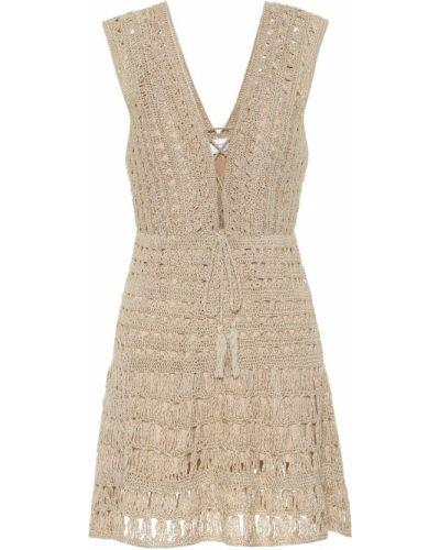 Beżowa sukienka mini bawełniana Anna Kosturova