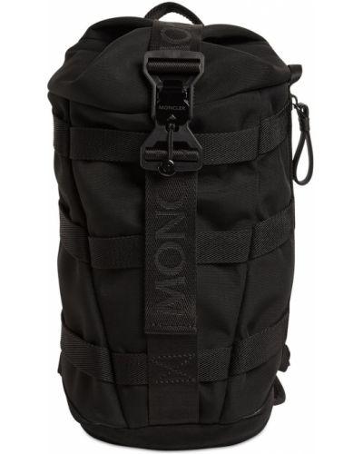 Czarny plecak skórzany z siateczką Moncler