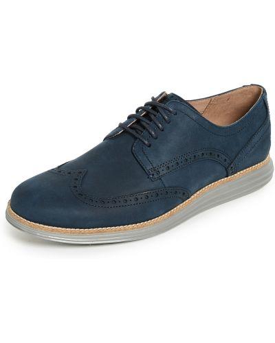 Синие кожаные туфли на шнурках Cole Haan
