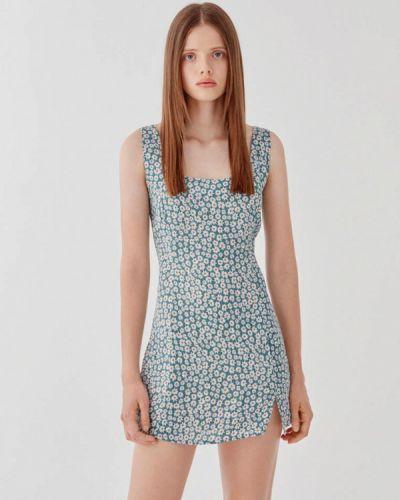Прямое бирюзовое платье Pull&bear