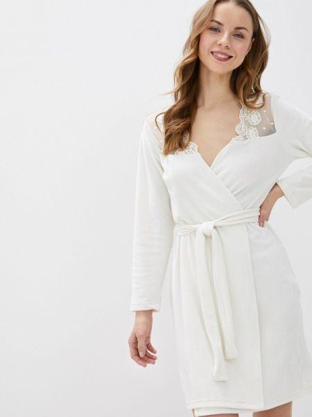Флисовый домашний белый халат Tenerezza
