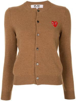 Wełniany brązowy kardigan z długimi rękawami z haftem Comme Des Garcons Play