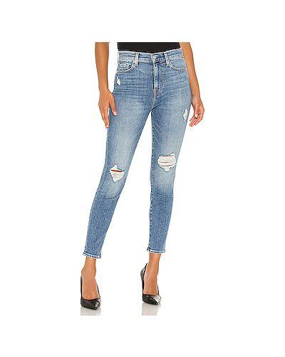 Рваные хлопковые джинсы-скинни на молнии скинни 7 For All Mankind