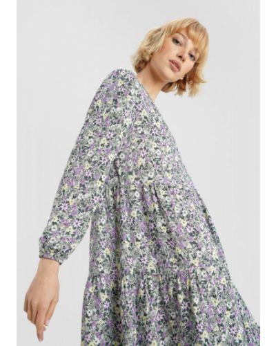 С рукавами платье макси с вырезом из вискозы Ostin