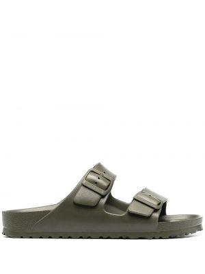 Sandały płaskie bez obcasa - zielone Birkenstock