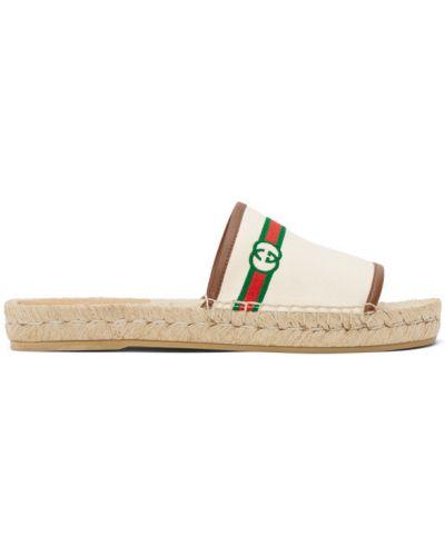 Beżowe sandały skorzane w paski Gucci