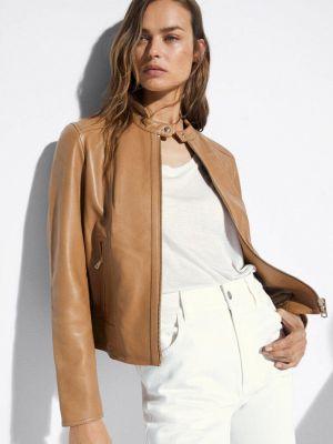 Коричневая кожаная куртка Massimo Dutti
