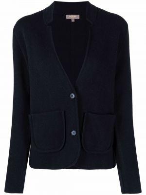 Трикотажный прямой синий удлиненный пиджак N.peal
