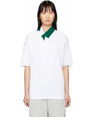 Поло белое зеленый Lacoste