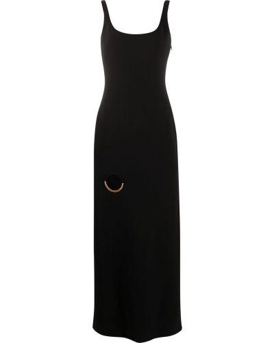 Шелковое черное платье макси с открытой спиной Versace