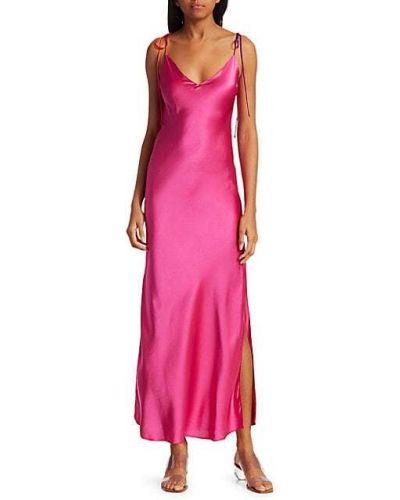 Czerwona sukienka długa z jedwabiu bez rękawów Dannijo