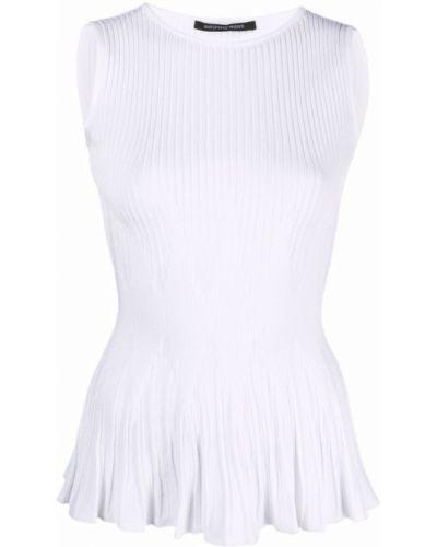 Prążkowany biały top bez rękawów Antonino Valenti