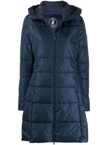 Синее пуховое длинное пальто с капюшоном Save The Duck