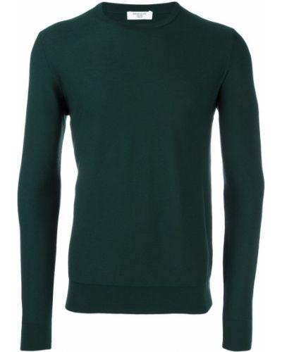 Зеленый шерстяной классический джемпер с круглым вырезом Fashion Clinic Timeless