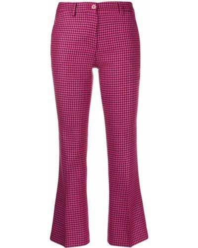 Укороченные брюки розовый расклешенные Pt01