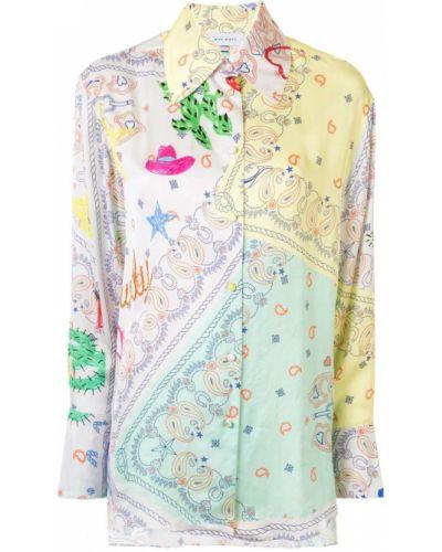 Белая классическая рубашка с воротником на пуговицах оверсайз Mira Mikati
