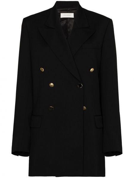 Шерстяной черный пиджак двубортный Wales Bonner
