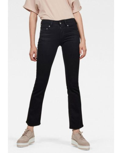 Расклешенные черные широкие джинсы G-star