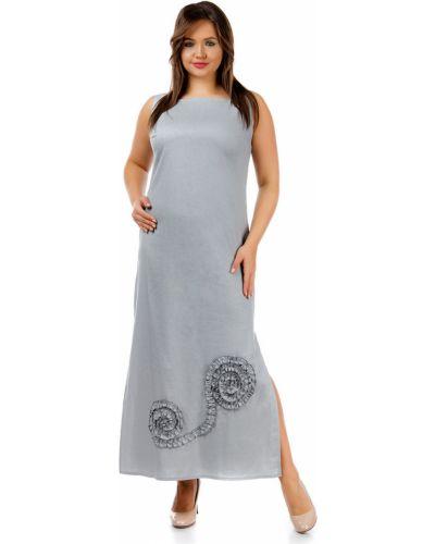 Летнее платье серое с цветочным принтом Liza Fashion