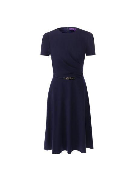 Платье с поясом с драпировкой синее Ralph Lauren
