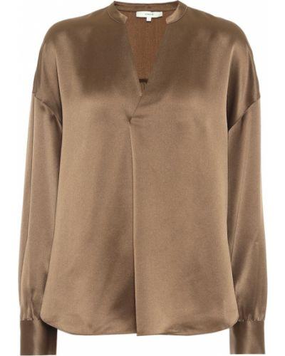 Коричневая плиссированная шелковая блузка Vince.