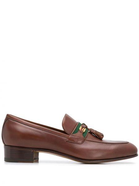 Brązowy loafers z prawdziwej skóry na pięcie Gucci