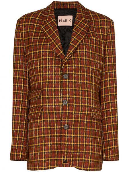 Шерстяной коричневый пиджак с карманами Plan C