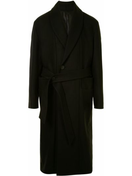 С рукавами черное шерстяное длинное пальто с лацканами Wooyoungmi