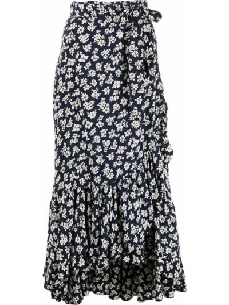 Синяя юбка в цветочный принт из вискозы Polo Ralph Lauren