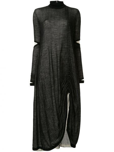 Черное платье миди в рубчик на молнии с вырезом Taylor