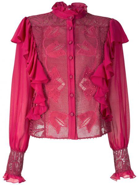Шелковая с рукавами красная рубашка Martha Medeiros