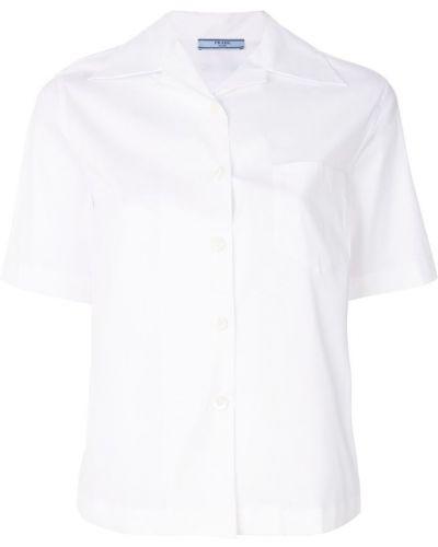 Белая рубашка с коротким рукавом Prada