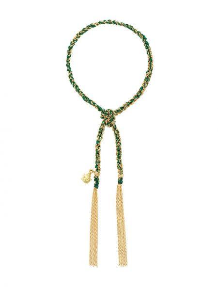 Шелковый золотистый желтый золотой браслет с кисточками Carolina Bucci