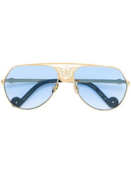Золотистые солнцезащитные очки хаки Anna Karin Karlsson