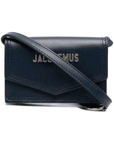 Синяя кожаная сумка через плечо прямоугольная Jacquemus