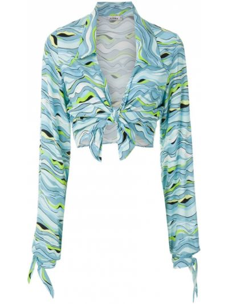 Синяя классическая рубашка с воротником из вискозы узкого кроя Amir Slama