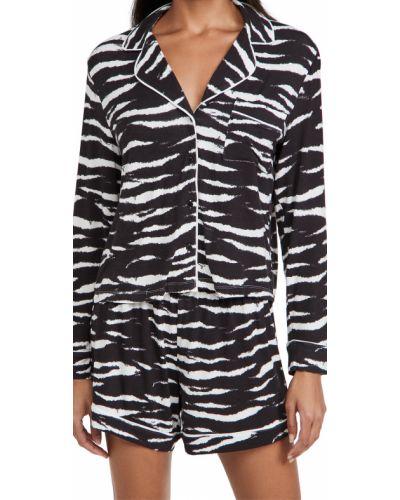 Черная трикотажная пижама с шортами с длинными рукавами Rails