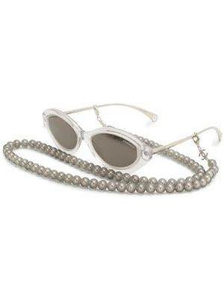 Комбинированные муслиновые серые солнцезащитные очки Chanel