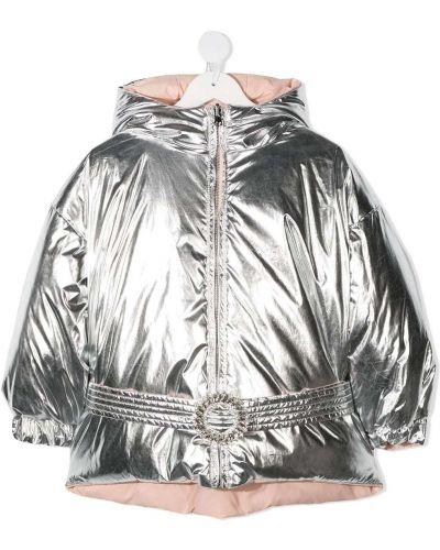 Пуховая серебряная длинная куртка с капюшоном Douuod Kids