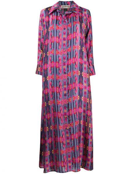 Фиолетовое классическое платье на пуговицах с воротником Jessie Western